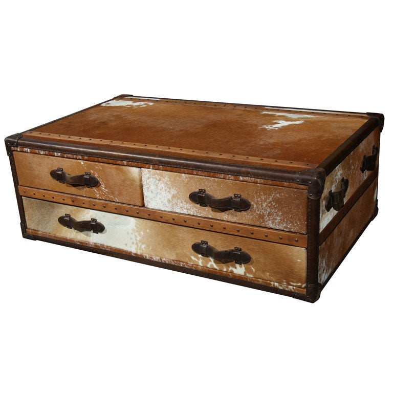 Beige Trunk Coffee Table: Cowhide Leather Trunk Coffee Table At 1stdibs