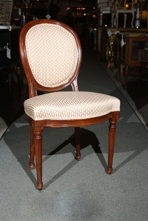 Set Of Four Walnut French Dining Chairs In The Style Louis XIV Circa