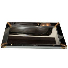 1940's Hollywood Smoked Mirrored Tray with Brass Fittings
