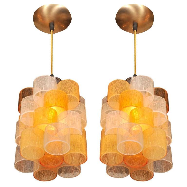 - Colored glass pendant lights ...