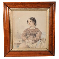 Signed and Dated Pencil and Watercolor Portrait of  a Young Girl