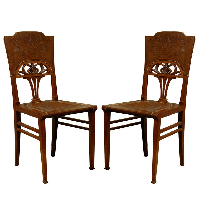 Set Of 6 French Art Nouveau Dining Chairs At 1stdibs