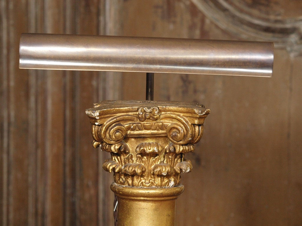 French Pair of Late 19th Century Gilded Columns Made into Lamps Set on Steel Bases For Sale