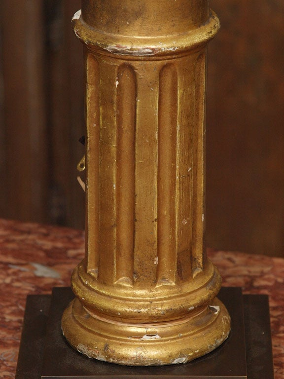Pair of Late 19th Century Gilded Columns Made into Lamps Set on Steel Bases In Good Condition For Sale In New Orleans, LA