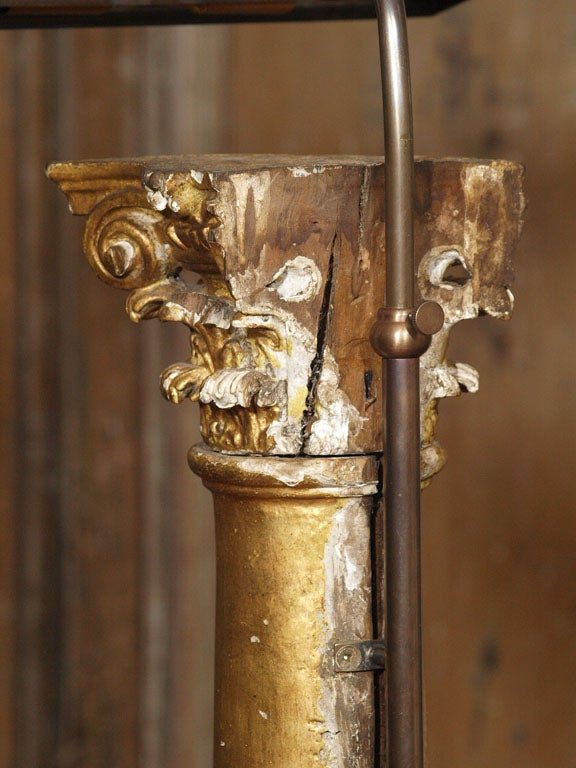 Pair of Late 19th Century Gilded Columns Made into Lamps Set on Steel Bases For Sale 1