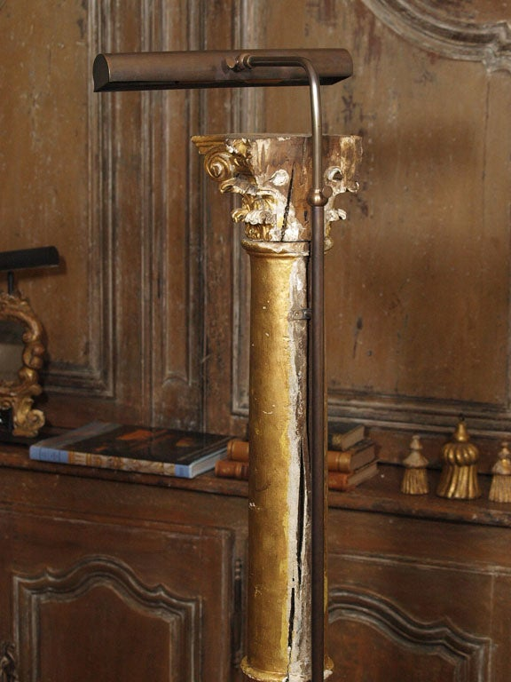 Pair of Late 19th Century Gilded Columns Made into Lamps Set on Steel Bases For Sale 2