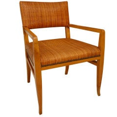 Elegant Walnut Armchair in Original Cane and Nailhead Detail