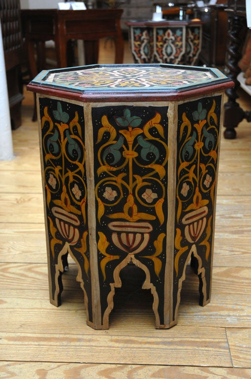 Hand painted hexagon moroccan drinks table at 1stdibs for Moroccan hand painted furniture