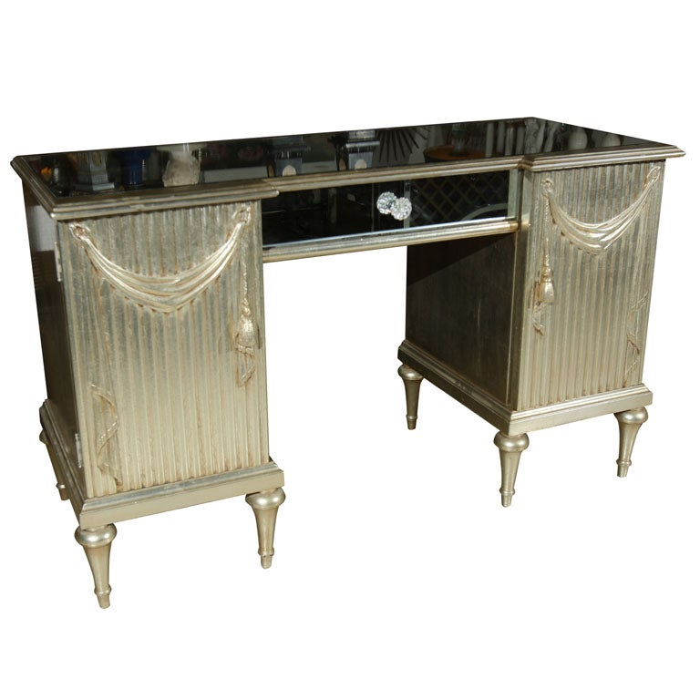 Vintage vanity table silver leaf in the style of draper at for Silver vanity table