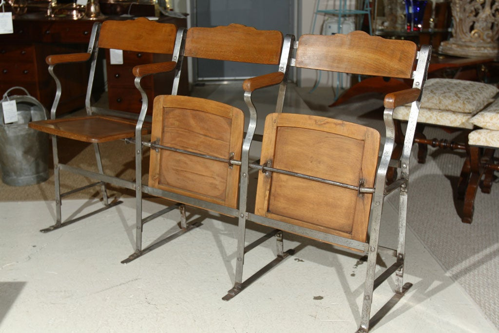 3 Seat Fold Up and Down Bench - Theater Seat at 1stdibs