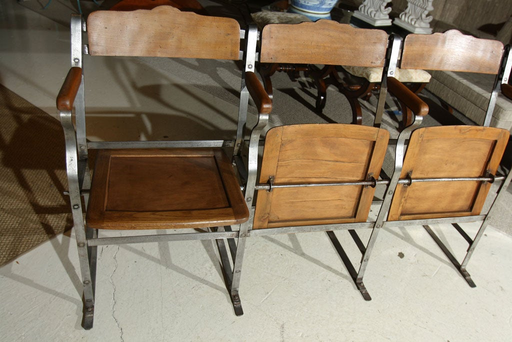 3 Seat Fold Up And Down Bench Theater Seat At 1stdibs