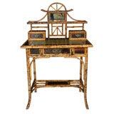 English Victorian Bamboo Desk w/laquer decoration