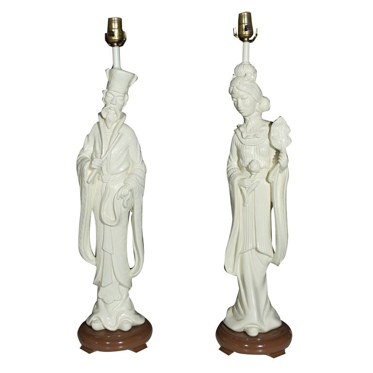 PAIR Chinese Figural Lamps - Painted