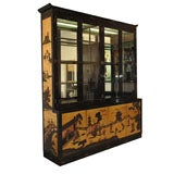 Black Lacquer and Gold Leafed Chinoiserie Breakfront 1970s