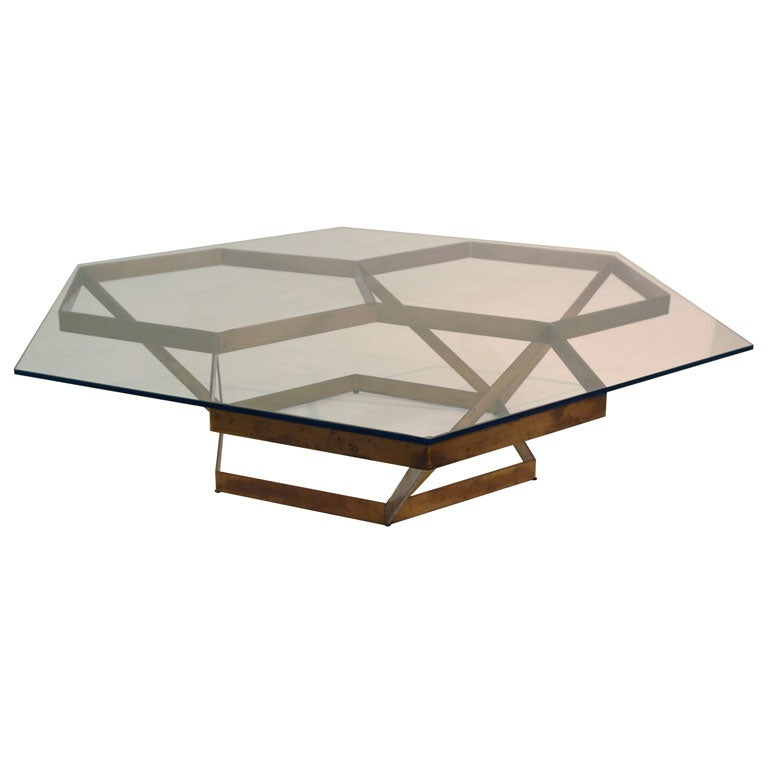 Massive Custom Architectural Bronze Hexagonal Cocktail Table At 1stdibs