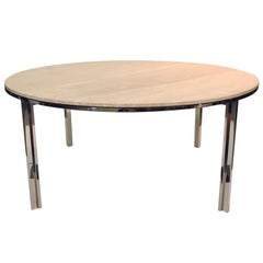 Pace Polished Stainless and Travertine Dining Table 1960s
