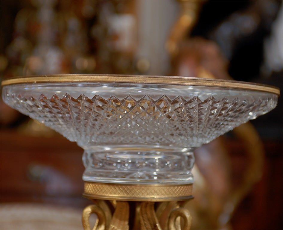 19thC FRENCH CRYSTAL AND GILT BRONZE CENTERPIECE image 5