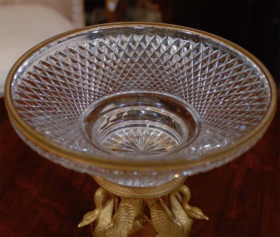 19thC FRENCH CRYSTAL AND GILT BRONZE CENTERPIECE 6