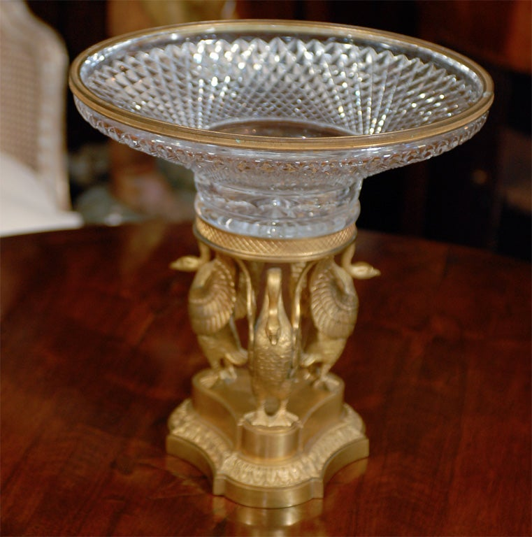 19thC FRENCH CRYSTAL AND GILT BRONZE CENTERPIECE image 7