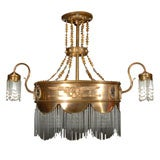 Magnificent multi-colored copper and crystal chandelier