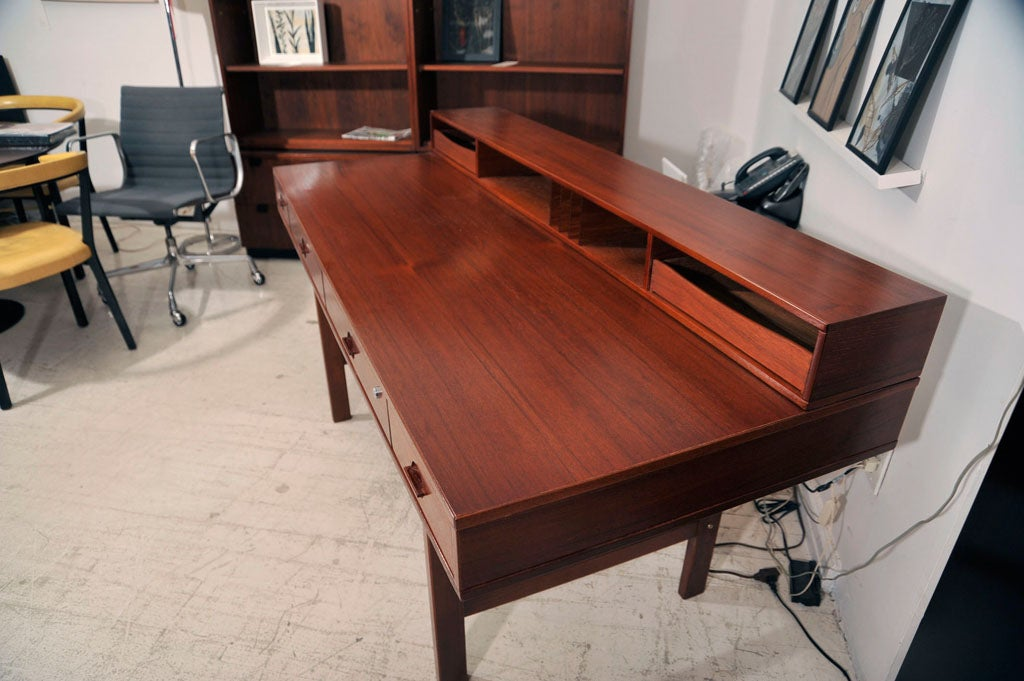 Lovig Flip Top Desk With Walnut Finish At 1stdibs
