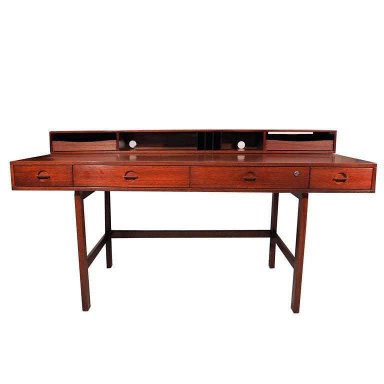 Lovig flip top desk with walnut finish at 1stdibs for Flip top computer desk