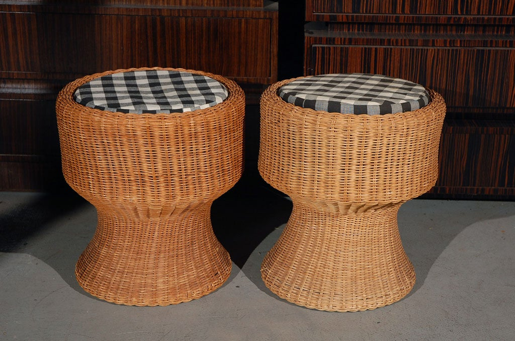 Eero Aarnio Pair Of Wicker Stools With Loose Cushions At