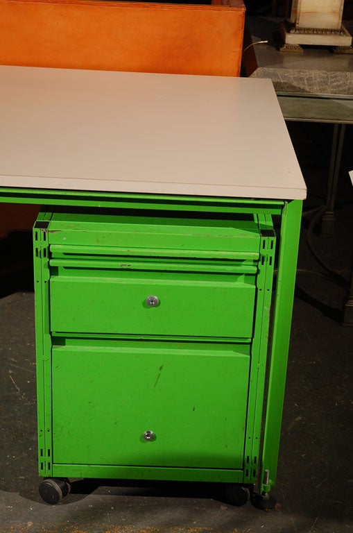 French Michel Cadestin and Georges Laurent Desk and Filing Cabinet For Sale