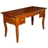 Antique French fruitwood bureau plat (desk).