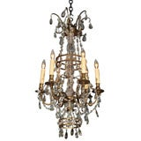 Antique French crystal and bronze six-light chandelier.