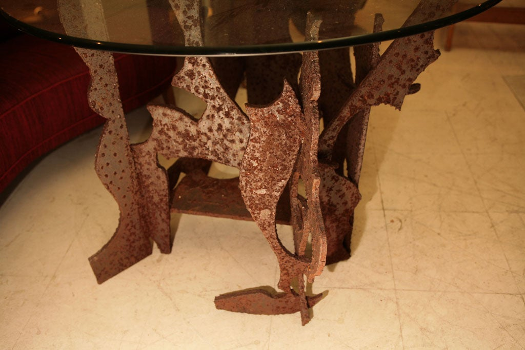Iron Brutalist Centre Table For Sale
