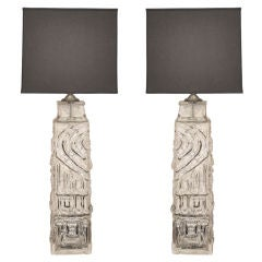 Pair of  Modernist  Lamps with Totemic Style Surface Texture