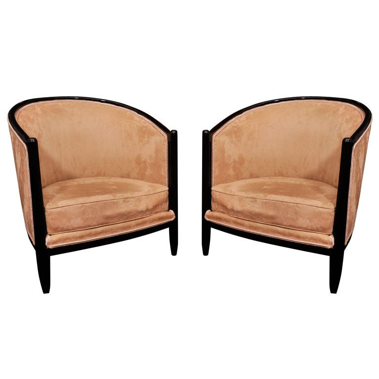 Pair of french art deco club chairs at 1stdibs - Club deco ...