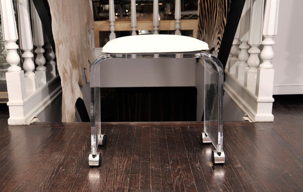 Lucite Stool With White Leather Seat At 1stdibs