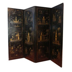 18th Century English Chinese Style Painted Leather Screen