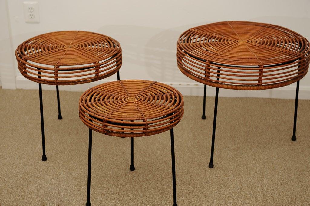 John risley set of rattan and iron nesting tables at