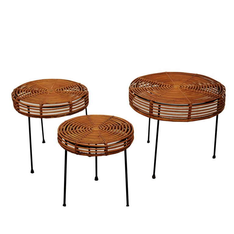 1953 John Risley Set Of Rattan And Iron Nesting Tables At