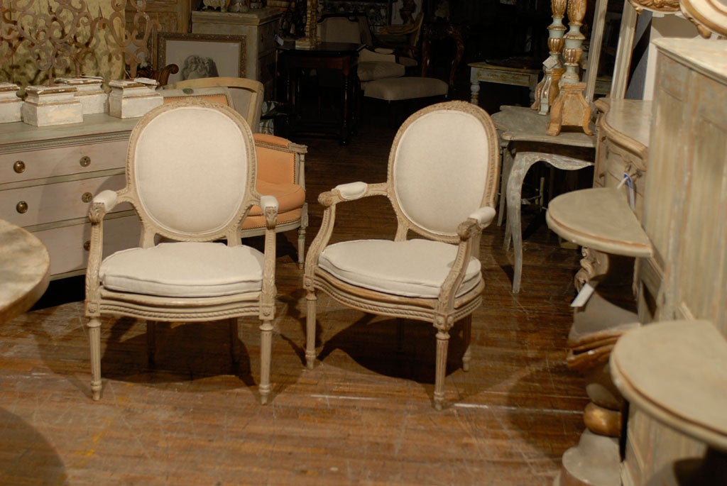 Exquisite Pair of French Oval Back Painted Wood Upholstered Bergeres Chairs 2