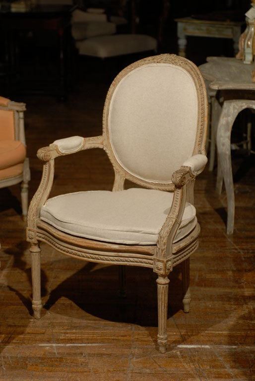 Exquisite Pair of French Oval Back Painted Wood Upholstered Bergeres Chairs 4