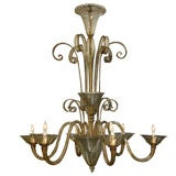 Large & Dramatic Amber Glass Venetian Chandelier