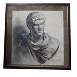 Belgian Portrait of a Roman in Charcoal, Circa 1880