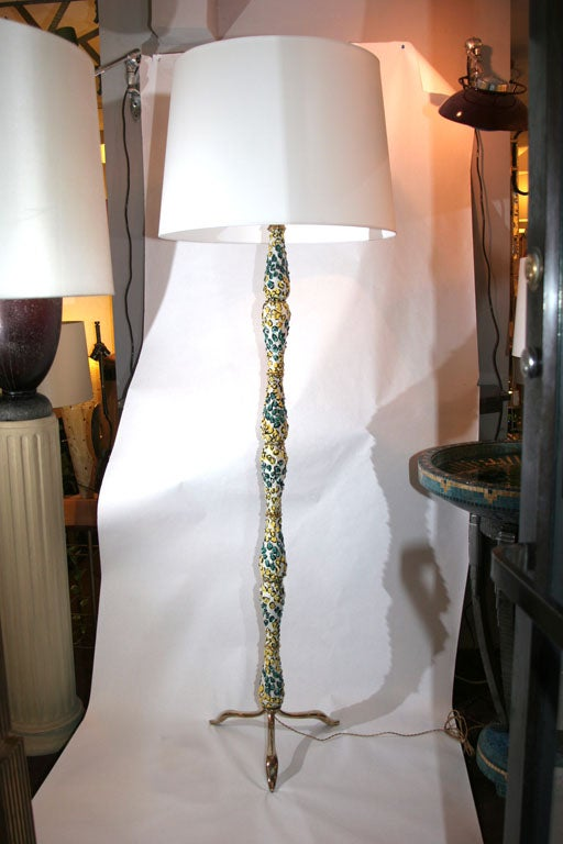 An Italian Mid Century Modern sculptural ceramic and brass floor lamp 1940's New sockets and rewired Shade not included