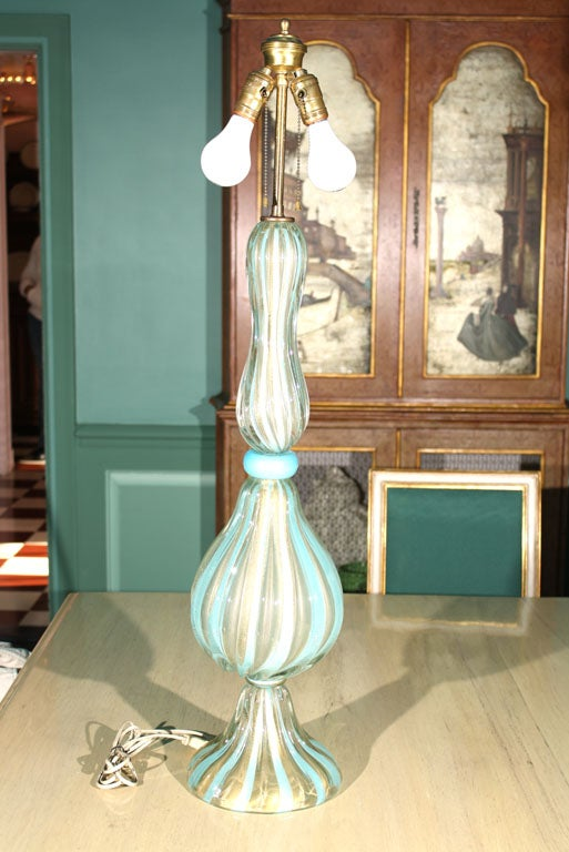 Italian Tall Venetian Murano Glass Lamp For Sale