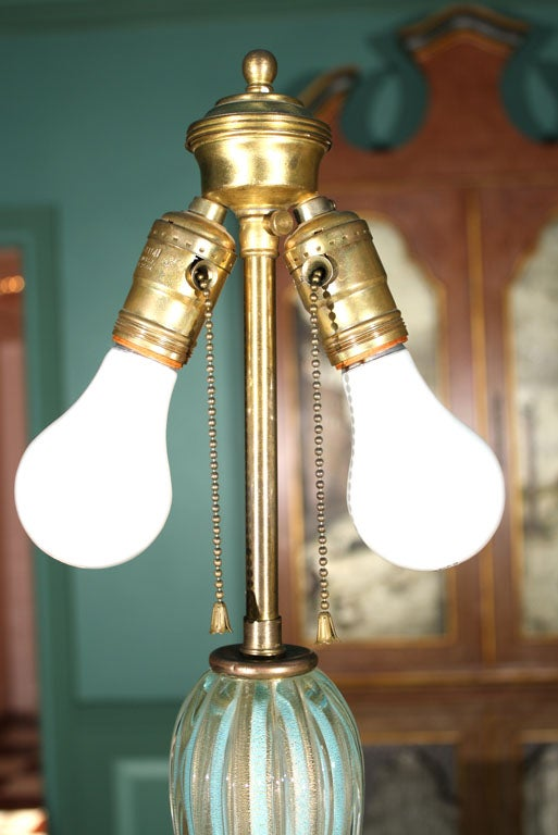 Tall Venetian Murano Glass Lamp For Sale 2
