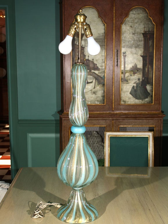 """Large spectacular aqua and clear with gold striped Murano glass lamp. Measures: Glass body of the lamp is 28 1/2"""" high."""