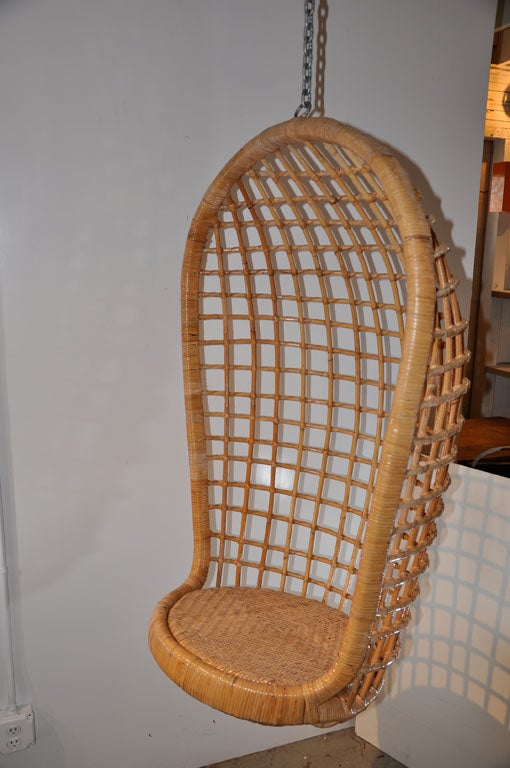 Vintage Rattan Hanging Egg Chair At 1stdibs