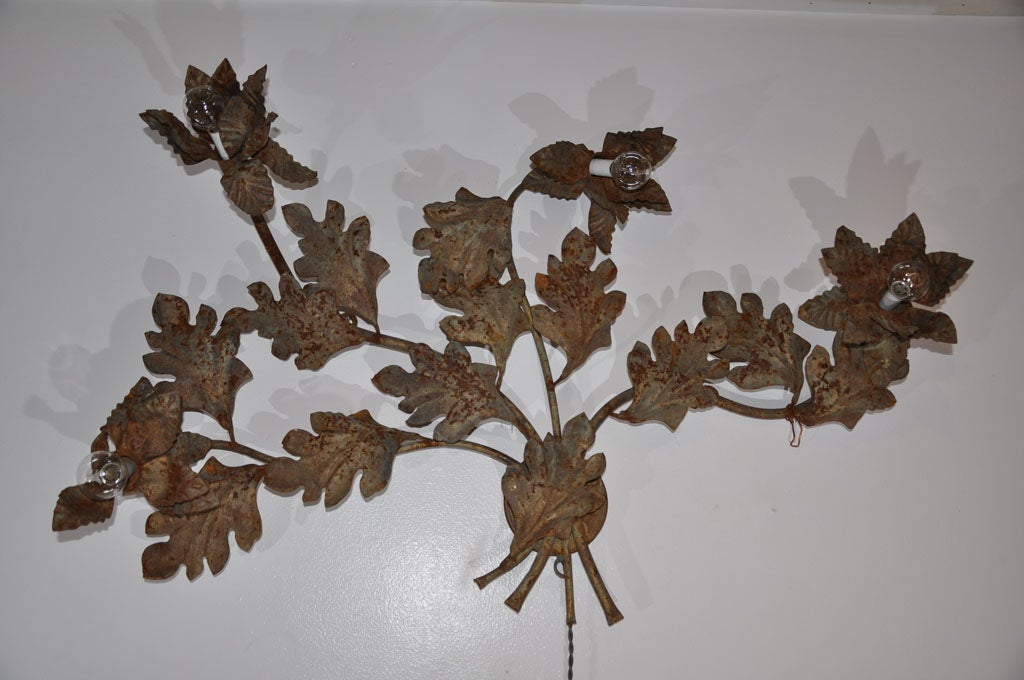 Floral Metal Wall Sconces : Patinaed Metal Flower Wall Sconce at 1stdibs
