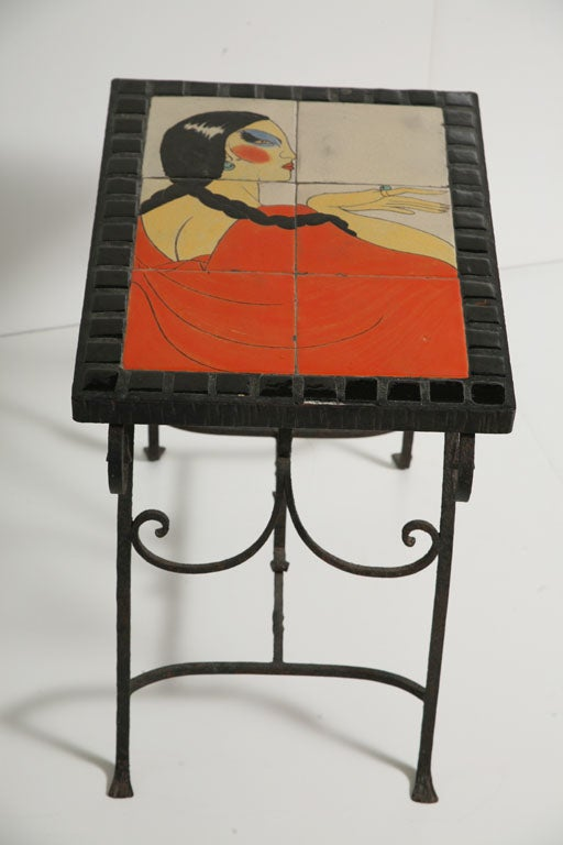 American Art Deco California Tile Occasional End Table, Catalina For Sale