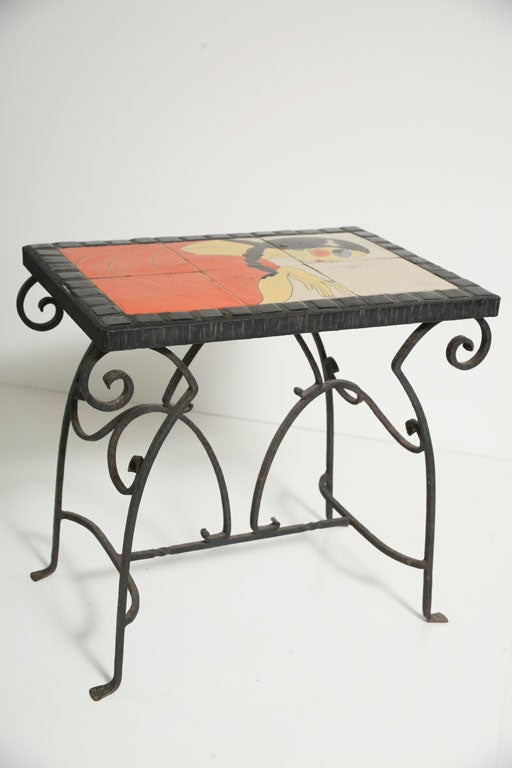 Wrought Iron Art Deco California Tile Occasional End Table, Catalina For Sale