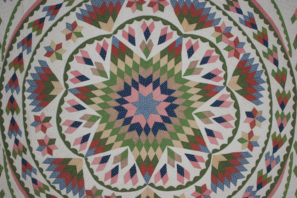 19th Century Antique Quilt:  Seven-Point Blazing Star For Sale